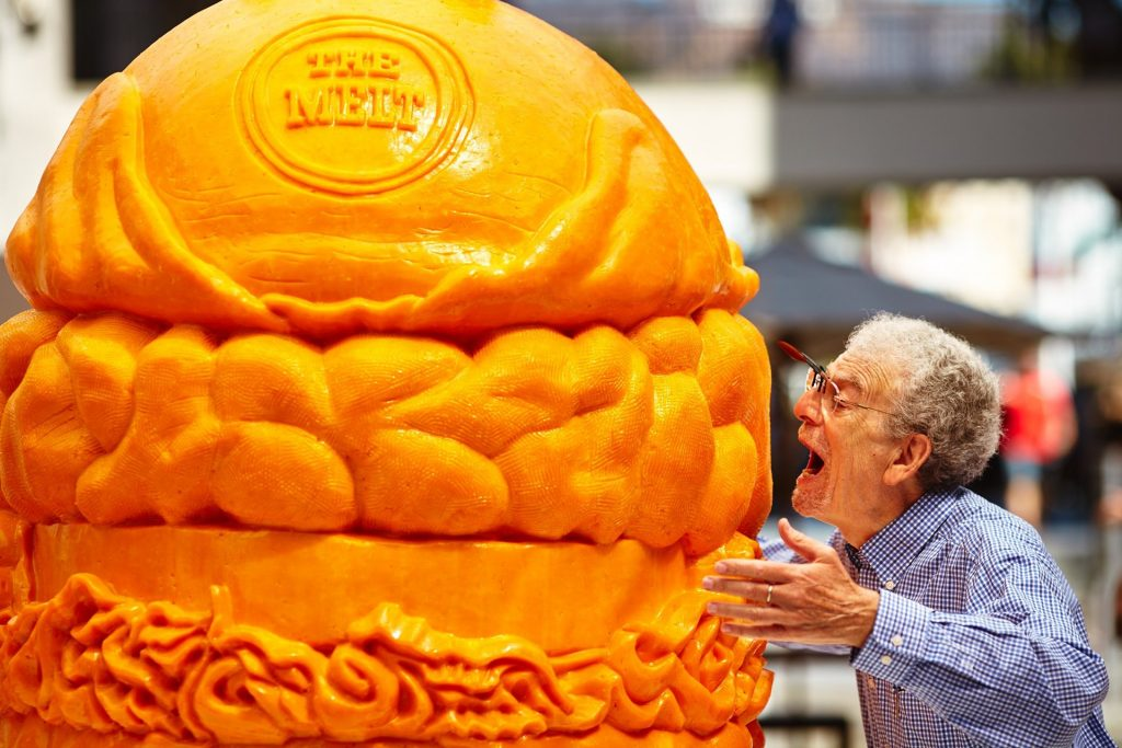 To celebrate National Cheeseburger Day and the anniversary of The Melt cheeseburger, BeCore broke the Guinness Record for the world's largest cheese carving.