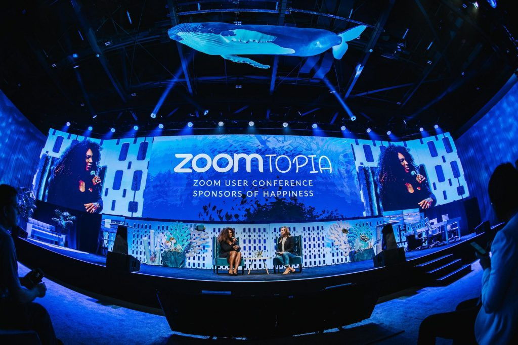 Serena Williams on stage at the Zoomtopia User Conference 2018