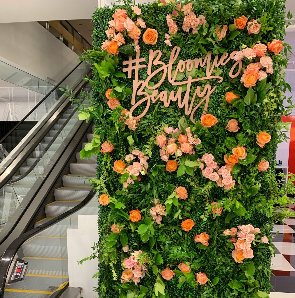 "Foamless flower wall by Larkspur Botanicals at the Bloomingdales ""Out of this World"" beauty event."