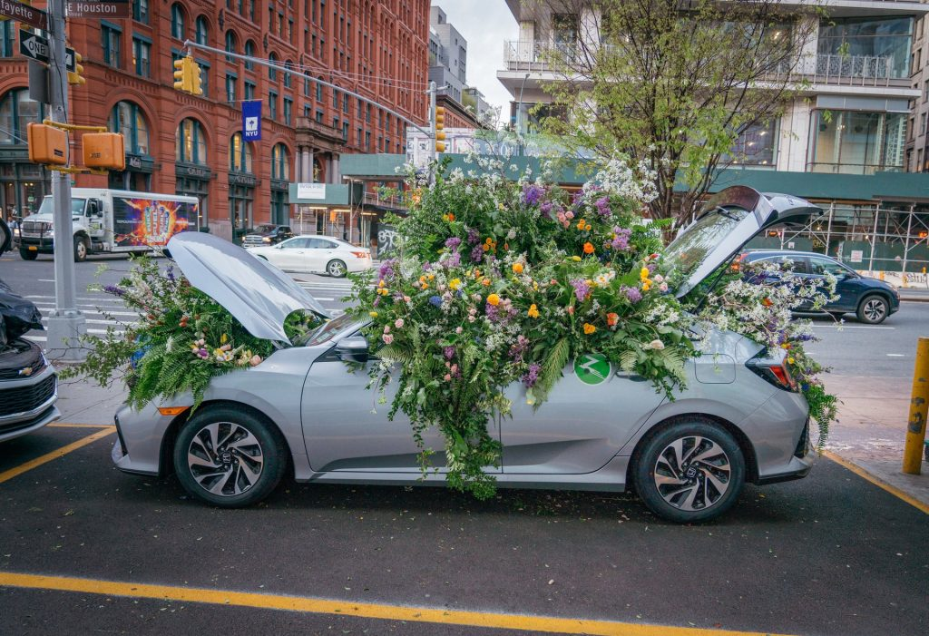 Living greenery in Larkspur Botanicals Zipcar Earth Day Flower Flash activation.