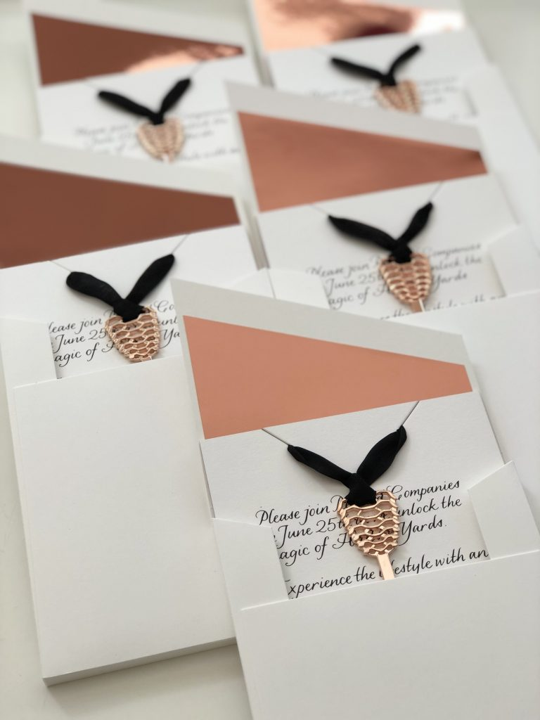 Hudson Yards Invitations with intricate details, designed by Christine Traulich and the RedBliss Design team.