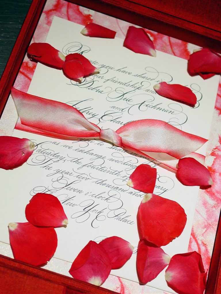 Christine Traulich and the team at RedBliss started the silk box invitation trend that became popular for weddings and other events in New York City and beyond.