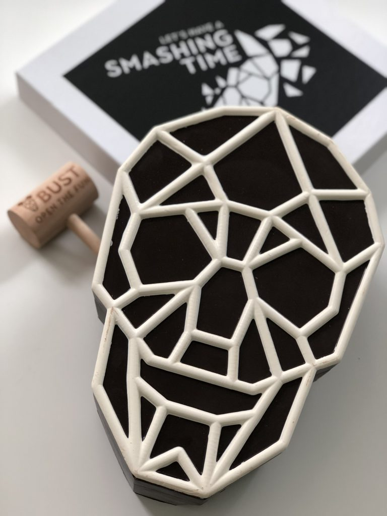 RedBliss' chocolate skull box, invitation inside.