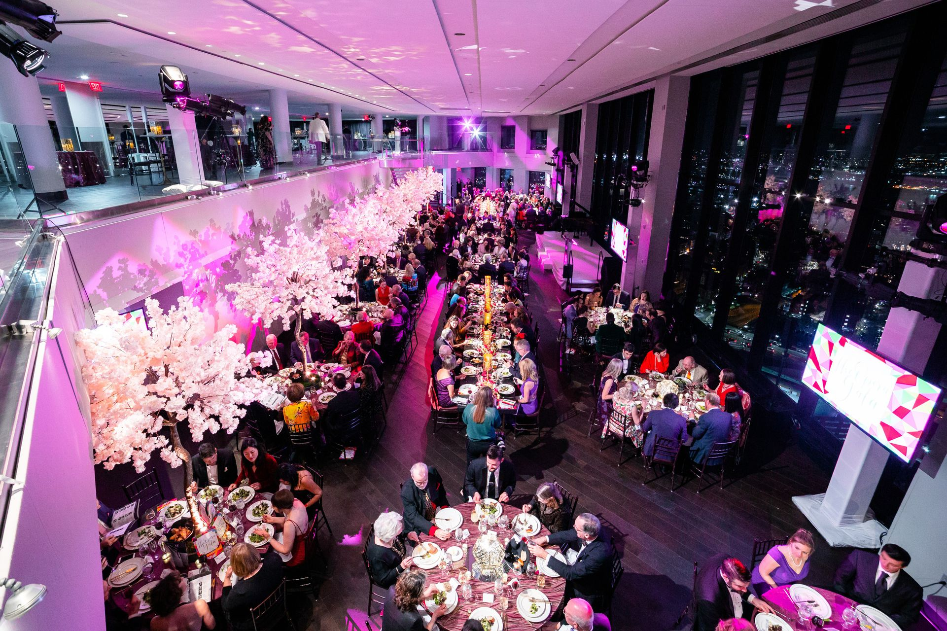 An aerial view of a large gala event