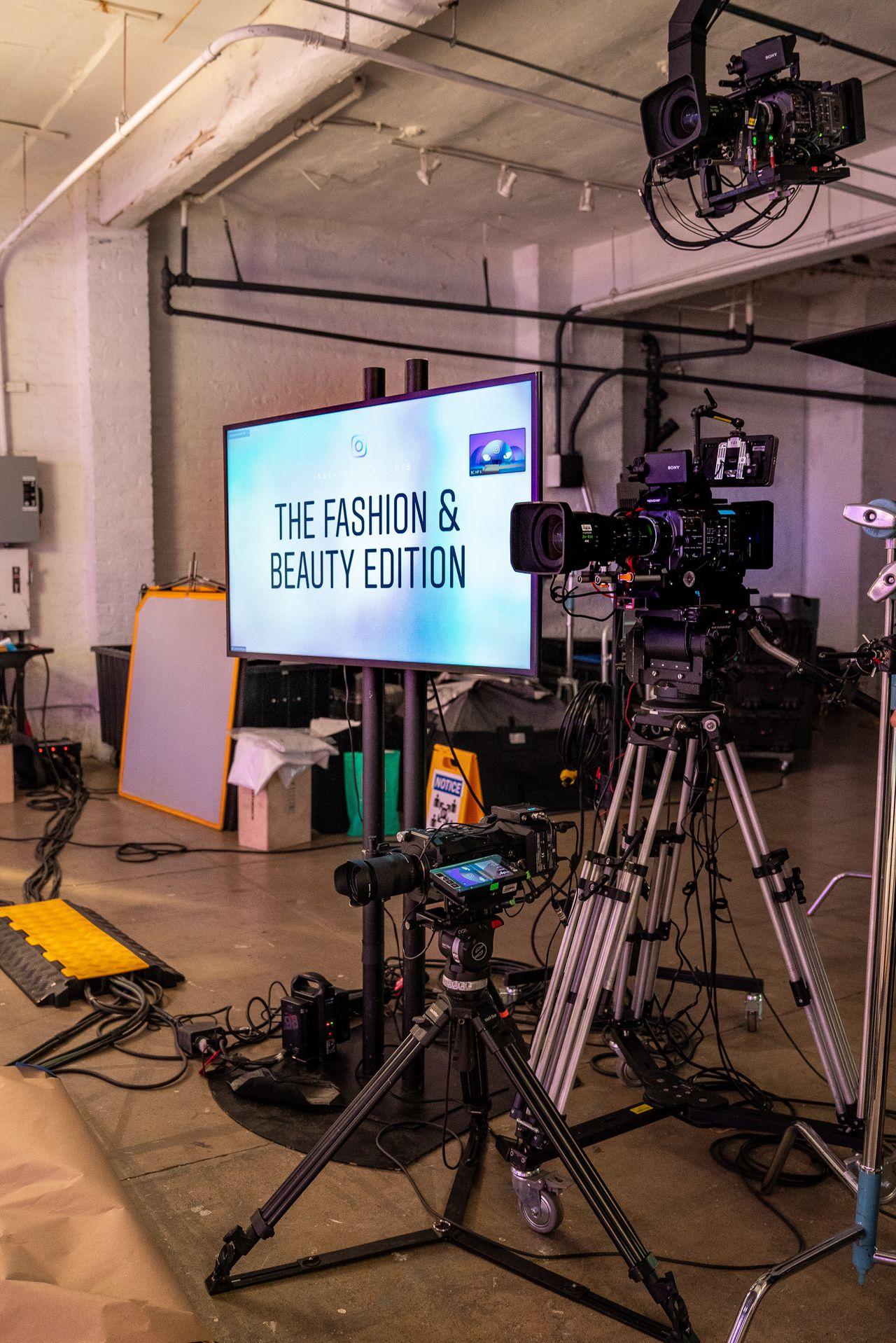 A monitor and camera set up